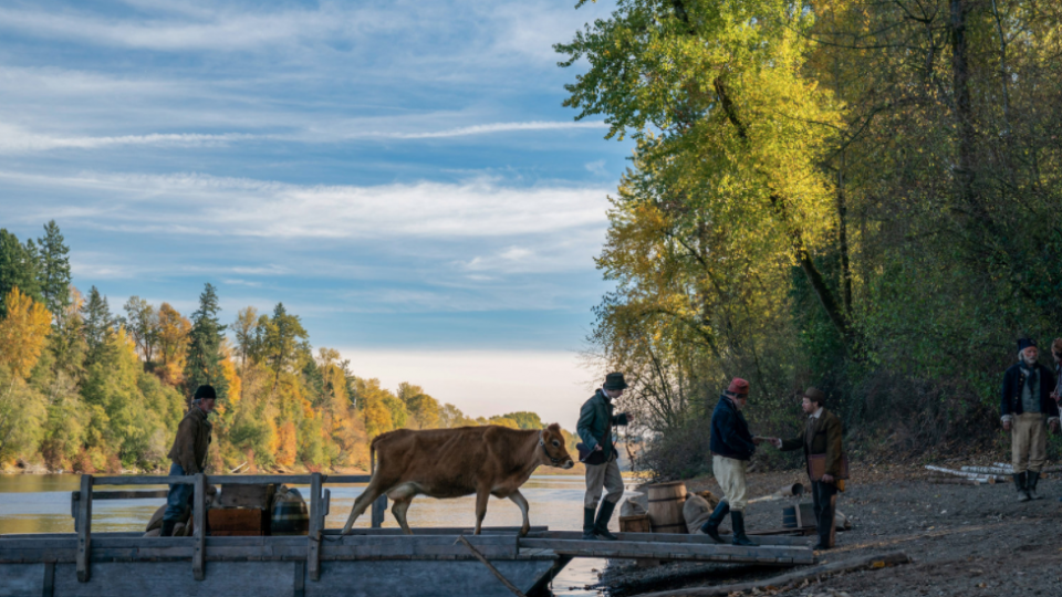 Cow being walked across the bridge in the western FIRST COW
