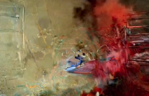 A still from M. Woods's Bedford Cheese, in which we see a digitally manipulated image that looks like an abstract expressionist painting; the film was in the roundup of Flaherty NYC film program