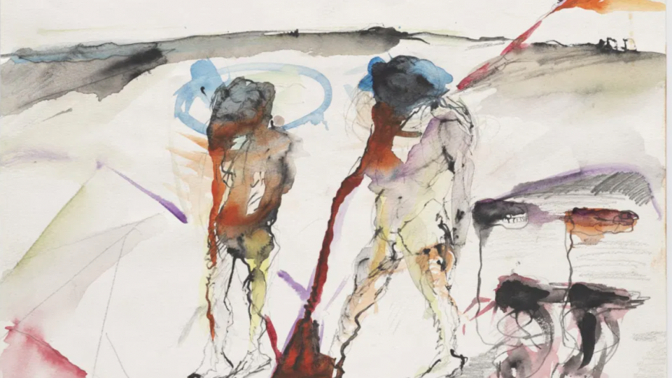 Watercolor from the artist Lucia Nogueira's Inferno, in a solo show at Luisa Strina Gallery, an excerpt